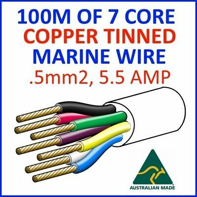 AU200 • Buy 100M OF 7 CORE .5mm2 16/0.2 WIRE MARINE TINNED COPPER TRAILER CABLE BOAT 12V