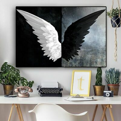 $6.90 • Buy Black And White Feather Wings Canvas Wall Art Angel And Demon Posters Decoration