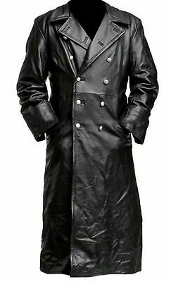 Ww2 Classic German Military Officer Uniform Black Leather Trench Coat • 88.80£