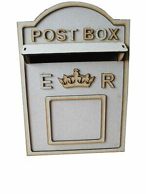 Wooden Wedding Post Box, Royal Mail Style MDF For Cards Letters Gifts Message • 12.99£