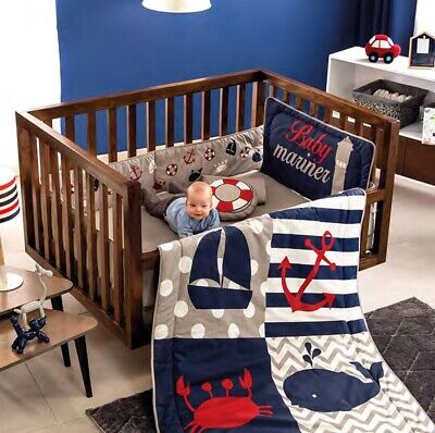$115 • Buy Boat Anchor Whale Sea Baby Boys Crib Bedding Set 6pcs 100% Cotton For Gift