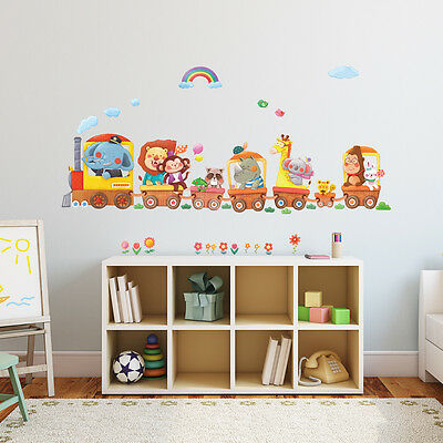 £11.95 • Buy Decowall Animals Train Nursery Kids Removable Wall Stickers Decal DA-1406A