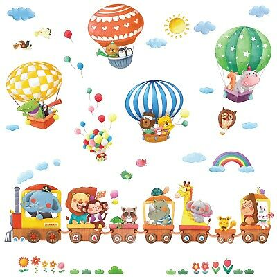 £12.95 • Buy Decowall Animal Train And Hot Air Balloons Kids Wall Stickers DS-8006P8024