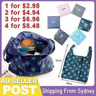 AU2.95 • Buy Nylon Reusable Foldable Recycle Grocery Shopping Carry Bags Tote Handbags Eco