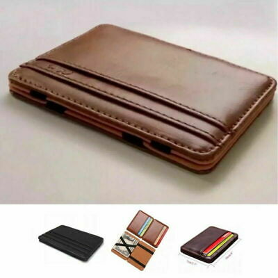 AU7.69 • Buy RFID Blocking Magic Flip Leather Wallet Slim Credit Card Holder Mens Money Clip