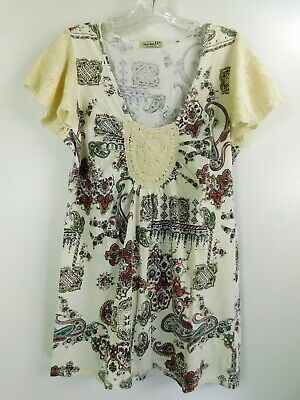 $10.49 • Buy One World Live And Let Live Cream Embroidered Flutter Sleeve Tunic Top Size M