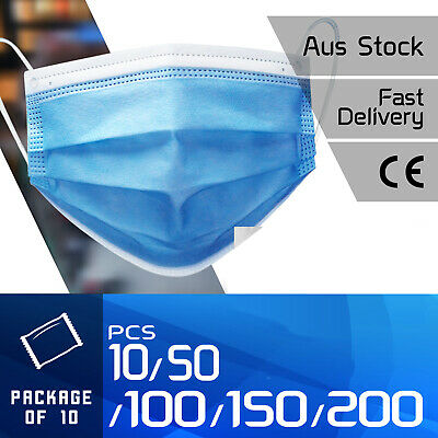 AU15.59 • Buy 50pc / 100pc General Daily Protective Face Mask Unisex 3 Layer Mouth AU STOCK