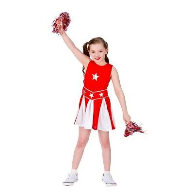 £8.95 • Buy Child HIGH SCHOOL CHEERLEADER RED Musical Fancy Dress Costume Ages 11-13 Years