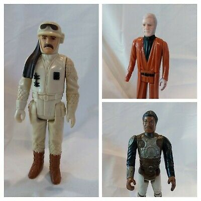 $ CDN33 • Buy Vintage Star Wars Figures Lot (3) Hoth Commander Obi Wan Kenobi Lando Karissian
