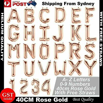 AU1 • Buy 40cm Birthday Foil Balloons Letter Number Balloon Party Wedding Rose Gold 16  AU