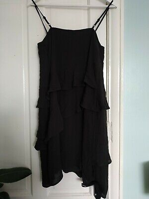 Topshop Black Tiered Frill Strappy Cami Dress 8 Bnwt New • 9.99£