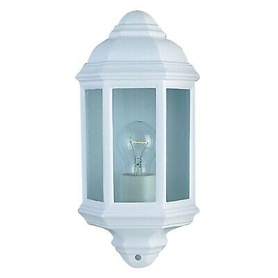 White Outdoor Die Cast Traditional Half Lantern Wall Light Clear Glass IP44 E27 • 21.50£