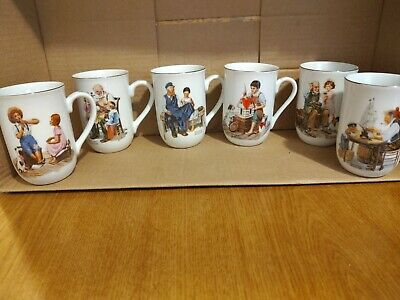 $ CDN19.80 • Buy Vintage Norman Rockwell Coffee Cups Mugs Set Of 6 Museum Collection 1982