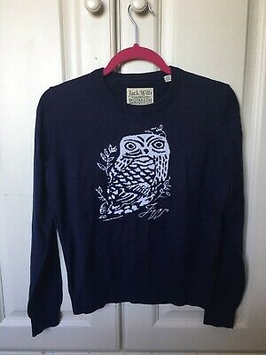 Jack Wills Womens Navy Owl Jumper UK 12 • 15£