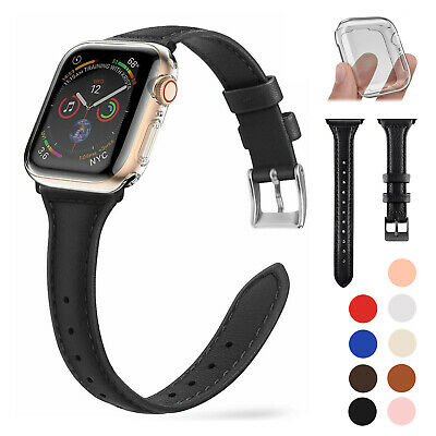 $ CDN6.78 • Buy SLIM Leather Band + Screen Protector For Apple Watch Series 5 4 3 38/40/42/44mm