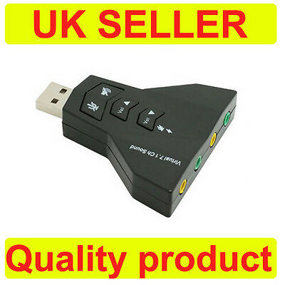 £2.98 • Buy USB 2.0 Sound Card Adapter 7.1 Channel, 3D PC Laptop External Sound Card Adapter