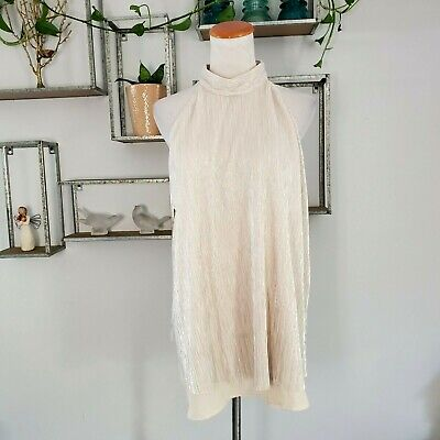 $ CDN40.74 • Buy Sunday In Brooklyn Anthropologie Halter Top XL Shimmer Ribbed Layered Swing NWT