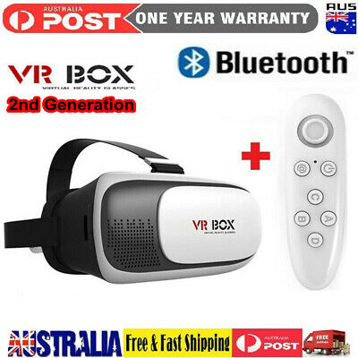 AU37.99 • Buy 2nd Gen VR Box Virtual Reality Glasses Goggle Headset 3D Movie Game + Bluetooth