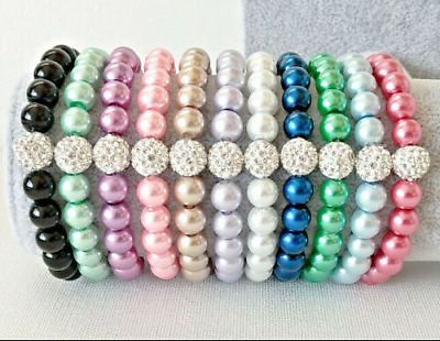 £1.98 • Buy Elastic Glass Pearl Beaded Bracelets 8mm 24 Colours With Crystal Shamballa Bead