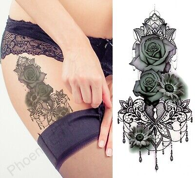 Temporary Tattoo Black Lace Rose Heart Fake Body Art Sticker Waterproof Ladies • 1.89£