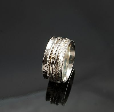 New Hand Made Silver Spinning Ring With 9ct Gold Beads • 29£