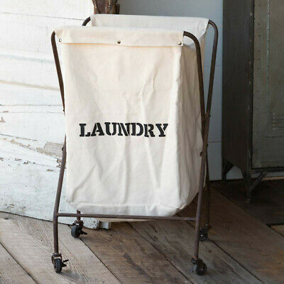 $120 • Buy Laundry Cart Metal Canvas Caster Wheels Vintage Style