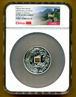 $249.95 • Buy NGC-PF70 UCAM 2018 Dragon & Phoenix / Great Wall 2-OZ Silver China Mint Medal