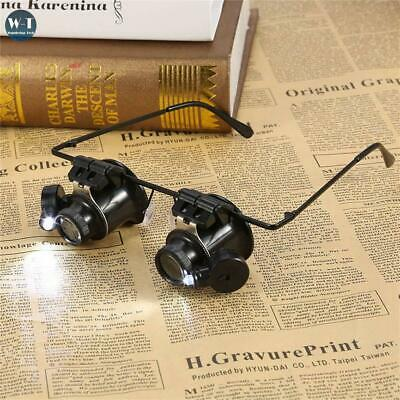 20x Magnifier Magnifying Eye Glasses Loupe Lens Jeweler Watch Repair LED Light • 8.94£