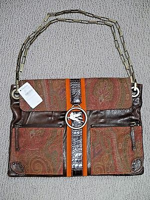 $425 • Buy NEW ETRO Multi-color Paisley Fabric And Leather Chain Strap Logo Detail Handbag