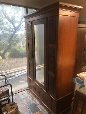 AU750 • Buy Antique Cedar Wardrobe With Large Drawer And Mirror