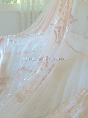 Shabby French Country Antique Pink Chic Lace Velvet King Bed Quilt Bedspread New • 127.51£