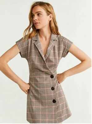 AU49.99 • Buy Bnwt Mng Mango Cross Checked Button Collared Short Cap Sleeve Work Dress S Size