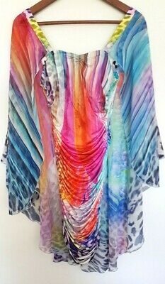 AU30 • Buy Y-LONDON Ladies Designer Rainbow Bodycon Cape Dress Size XS EUC