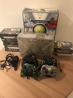 AU500 • Buy XBOX Crystal Limited Edition Console Boxed + Rare Controllers & Games