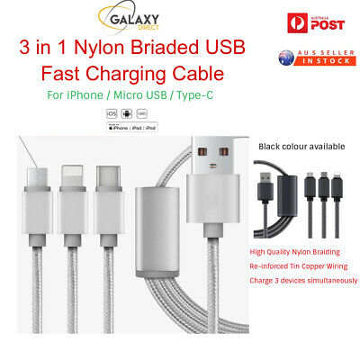 AU4.99 • Buy 3 In 1 Multi TYPE C Micro USB Charger Charging Cable Cord For IPhone Android