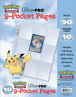 10 X 9 Pocket Pages With Embossed Pikachu Pokemon Card Storage Sleeves  • 5.53£