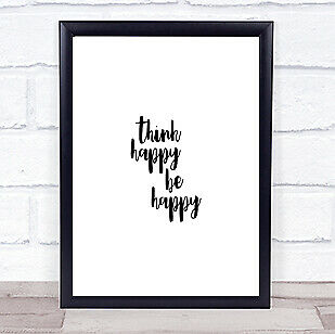 £7.29 • Buy Think Happy Quote Print Poster Typography Word Art Picture