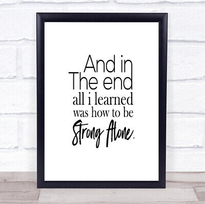 £26.95 • Buy In The End Quote Print Poster Typography Word Art Picture