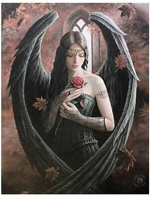 Design Gothic Angel Rose /Rose Fairy Canvas Picture On Frame Wall Plaque • 4.99£