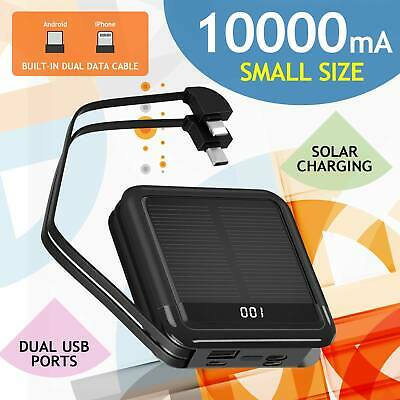 AU45 • Buy 10000mah Solar Power Bank Fast Charger 2USB Ports Portable Mobile Iphone Outdoor