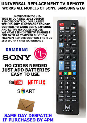 Universal Remote Tv Control For All Lg, Sony & Samsung Led/lcd Models Only • 5.99£