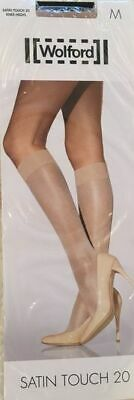 WOLFORD Satin Touch 20 Knee Highs - Medium/Cosmetic - BRAND NEW UNUSED • 12£