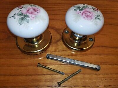 Vintage Pretty Floral Ceramic Door Knobs X 2 - By B.E.L Products • 19.99£