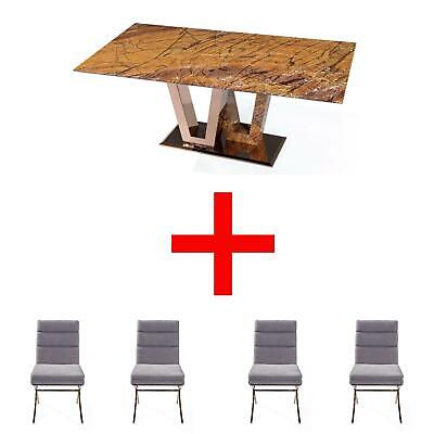 Rectangular Marble Dinning Table With X4 White Dining Chairs Bundle Set 10%OFF • 2,524£