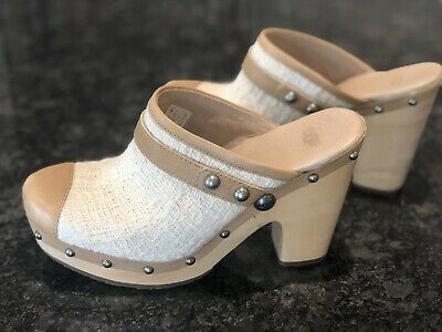 UGG Ladies Clogs/mules, Off White & Tan, Size 6.5. Worn Once. • 39£