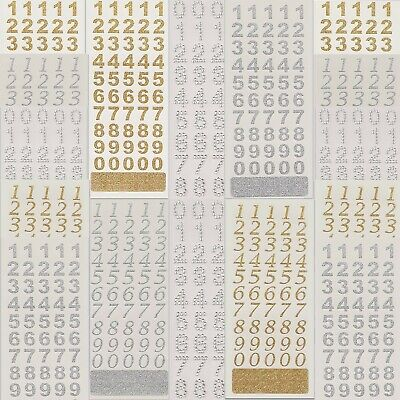 £2.25 • Buy GLITTER NUMBER STICKERS 0-9 Craft Stick On Birthday Card Age Diamante Small 15mm