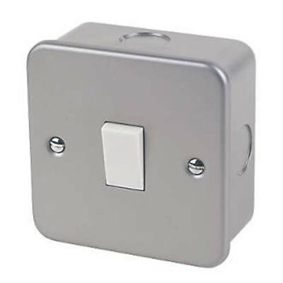 £5.95 • Buy 1 Gang 1 Way Metal Clad Light Switch 20A Complete With Back Box Double Pole DP