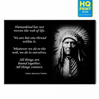 £3.99 • Buy Native American Indian Motivational Wisdom Quote Poster | A5 A4 A3 A2 A1 |
