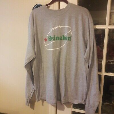 HEINEKEN FOOTBALL T-Shirt Long Sleeve GREY - Size XL • 11.89£