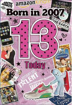 13th Female Year You Were Born Greeting Card With Facts About 2007 Free P&p • 2.65£